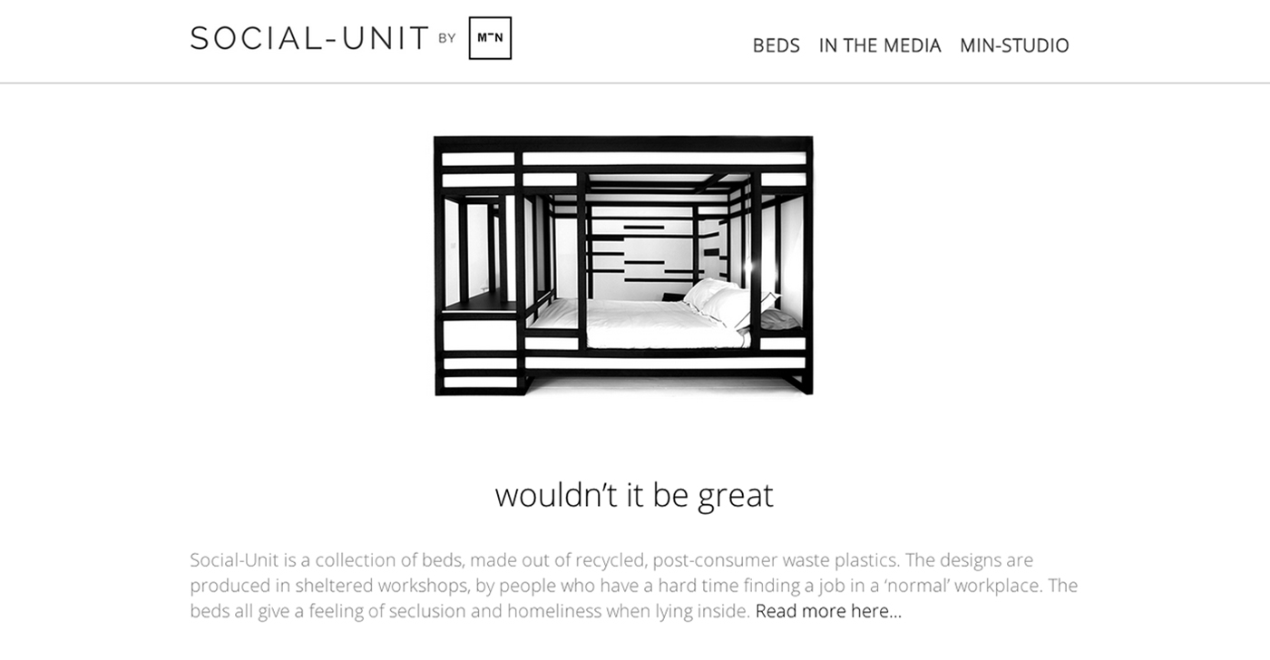 MIN-studio website portfolio:  Social-Unit website