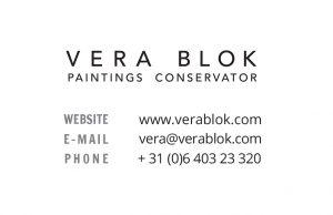 Visitekaartje Vera Blok (achter)
